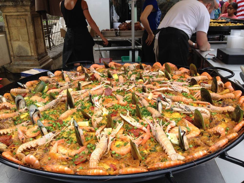 Monster paella at the weekly market in Sarlat-le-Caneda, France